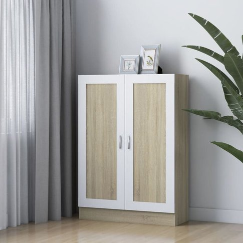 Book Cabinet White And Sonoma Oak 82.5x30.5x115 Cm C...