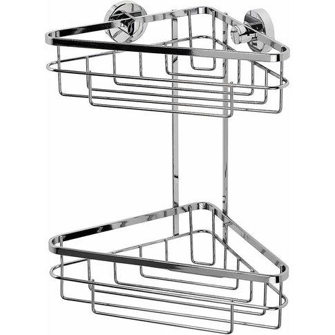 Rust Free Brockham Flexi-Fix Two Tier Bathroom Storage Corner Shower Basket Caddy, Chrome - Croydex