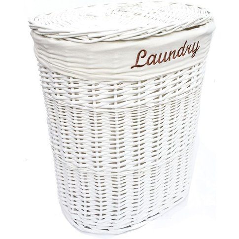 Oval Wicker Laundry Basket With Lid & Removable Cott...