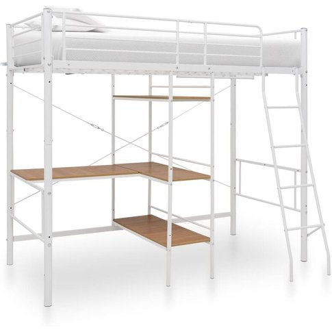 Bunk Bed With Table Frame White Metal 90x200 Cm - Vi...