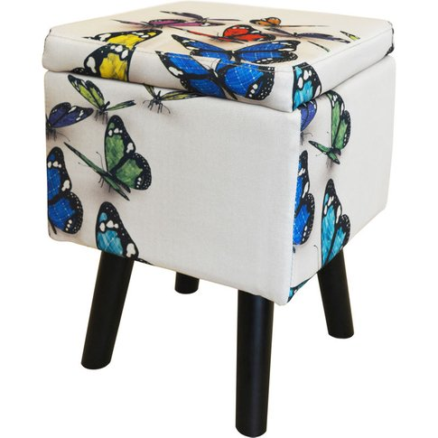 Butterfly - Contemporary Retro Square Padded Storage...