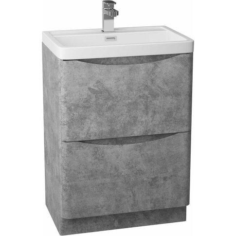Bali 2-Drawer Floor Standing Vanity Unit With Ceramic Basin 600mm Wide - Concrete - Cali