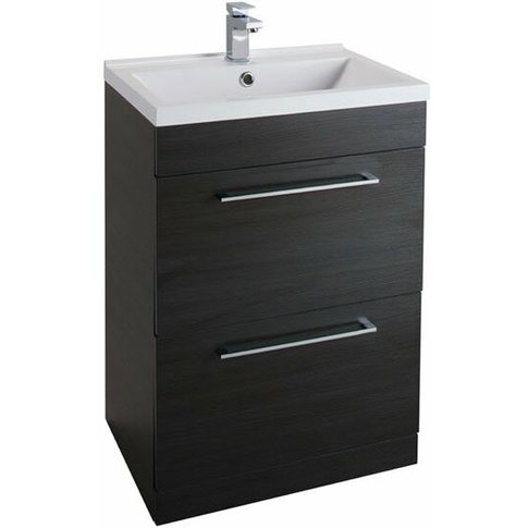 Idon 2-Drawer Free Standing Vanity Unit With Basin - 600mm Wide - Black Ash - Cali