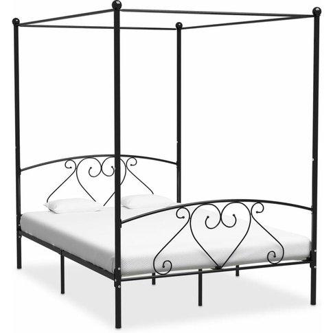 Canopy Bed Frame Black Metal 160x200 Cm - Vidaxl