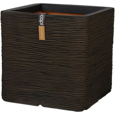 Capi Planter Nature Rib Square 30x30 Cm Brown Kofb902