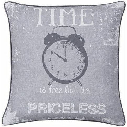 Catherine Lansfield Time Is Priceless Cushion Cover 43x43cm - Bianca