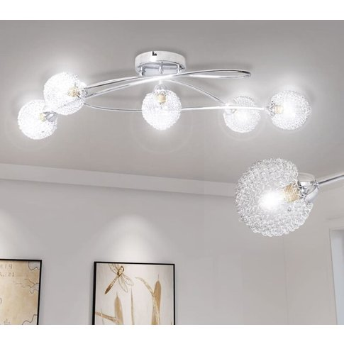 Ceiling Lamp With Mesh Wire Shades For 5 G9 Bulbs - ...