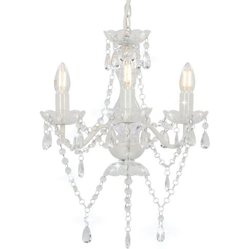 Chandelier With Beads White Round 3 X E14 - Youthup