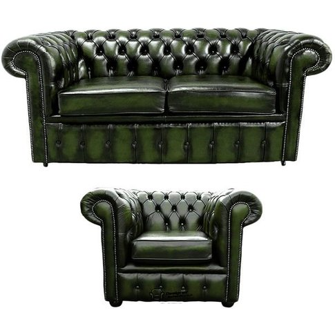 Chesterfield 2 Seater Sofa + Club Chair Leather Sofa...