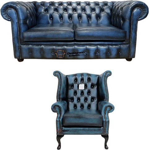 Chesterfield 2 Seater Sofa + Queen Anne Wing Chair L...