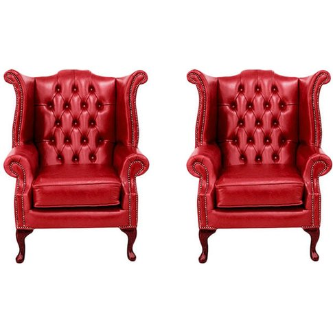Chesterfield 2 X Queen Anne Chairs Old English Gamay...