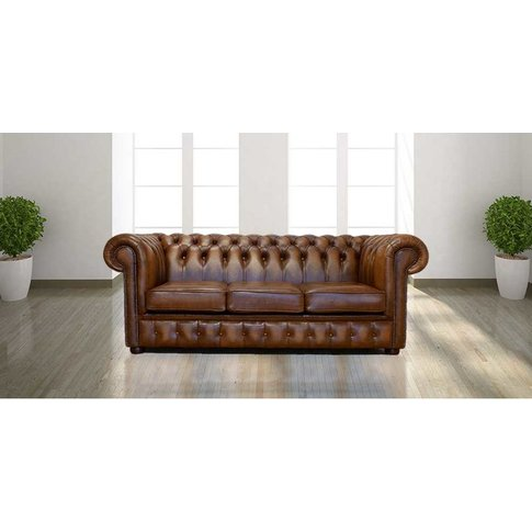 Chesterfield 3 Seater Birch Antique Gold Leather Sof...