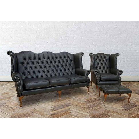 Chesterfield 3 Seater + Queen Anne High Back Wing Chair Uk Manufactured Black - Designer Sofas 4 U