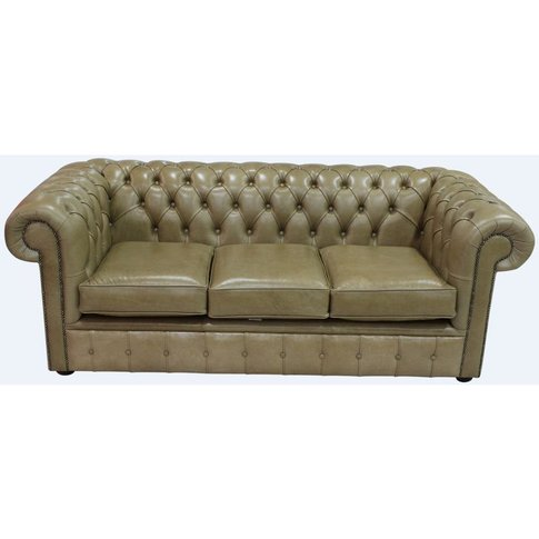 Chesterfield 3 Seater Settee Old English Sand Leathe...