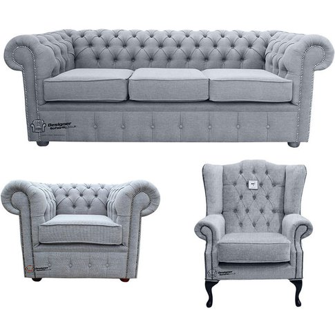 Chesterfield 3 Seater Sofa + Club Chair + Mallory Wi...