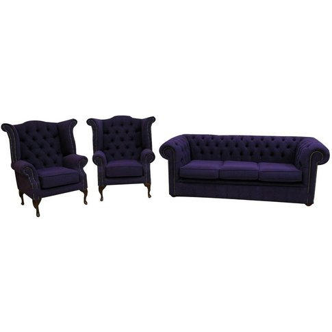 Chesterfield Suite Upholstered In Purple Fabric | Sh...