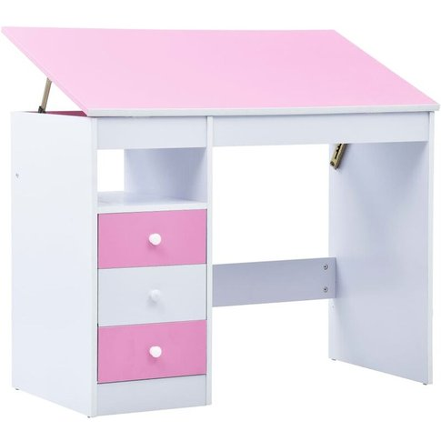 Children Drawing Study Desk Tiltable Pink And White ...