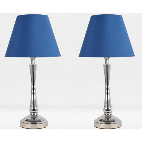 Set Of 2 Chrome Plated Bedside Table Light With Deta...