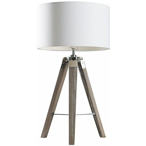 Chrome & Wood Tripod Table Lamp With Large Drum Shad...