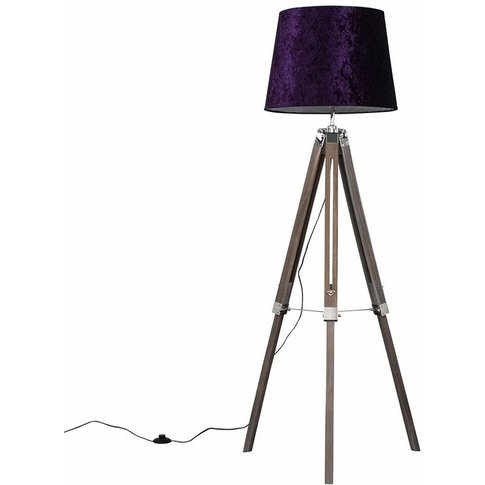 Clipper Led Tripod Floor Lamp In Light Wood With Asp...