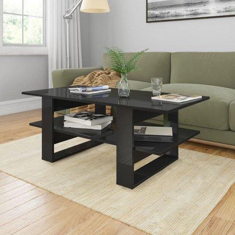 Coffee Table High Gloss Black 110x55x42 Cm Chipboard...