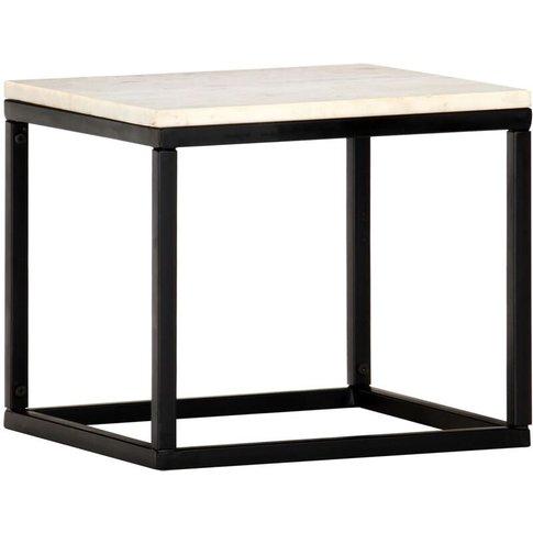 Vidaxl - Coffee Table White 40x40x35 Cm Real Stone W...