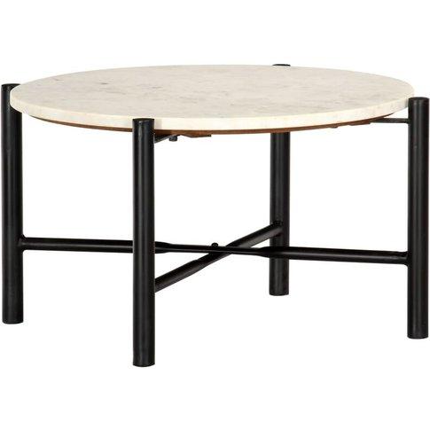 Vidaxl - Coffee Table White 60x60x35 Cm Real Stone W...