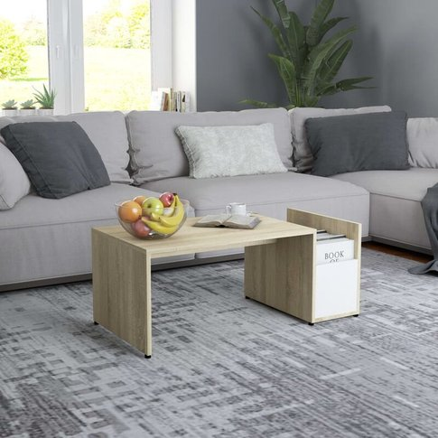 Coffee Table White And Sonoma Oak 90x45x35 Cm Chipbo...