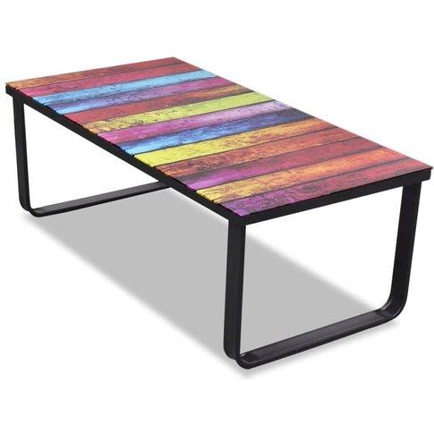 Vidaxl - Coffee Table With Rainbow Printing Glass Top