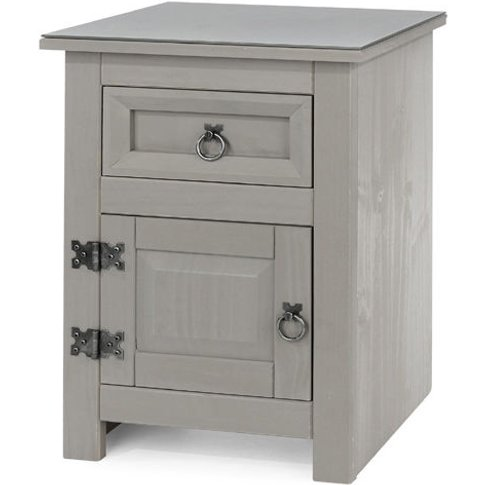 Compact 1 Door, 1 Drawer Bedside Cabinet With Glass ...