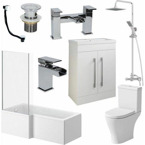 Complete Bathroom Suite L Shaped Lh Bath Basin 600mm...