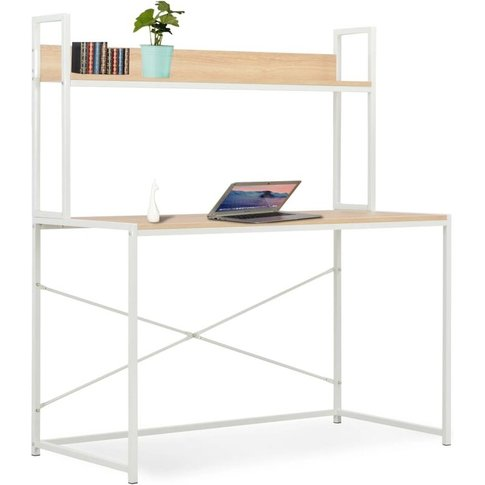 Computer Desk 120x60x138 Cm White And Oak - Vidaxl