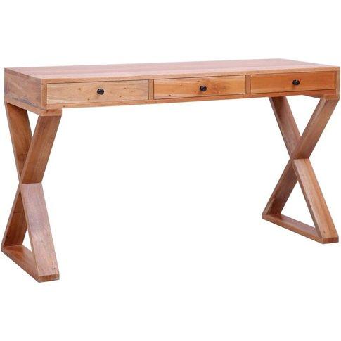 Computer Desk 132x47x77 Cm Solid Mahogany Wood Natur...