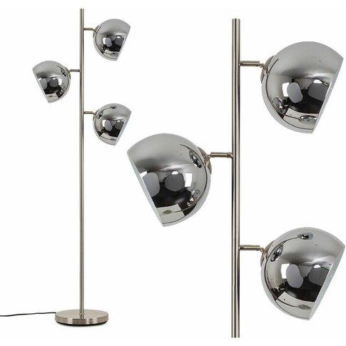 3 Way Floor Lamp With Mini Arco Dome Shades - Chrome...