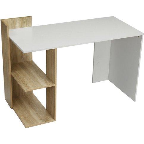 Corner Desk With 2 Shelves White+Walnut Computer Wor...