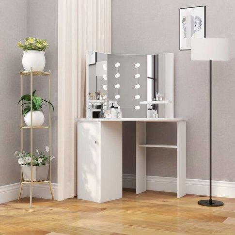 Corner Dressing Table Make-Up Table With Led Light W...