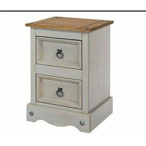 Coson Grey Pine 2 Door Small Bedside Cabinet - Netfu...