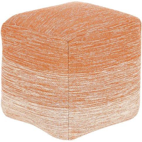 Cotton Pouffe Orange Hirri - Beliani