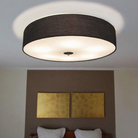 Country Ceiling Lamp Black 70 Cm - Drum - Qazqa