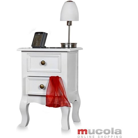 Country House Commode Bedside Table Bedside Cabinet White Shabby Bedside Console - Mucola