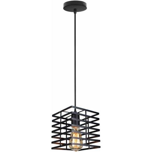 Creative Pendant Light Metal Square Pendant Lamp Bla...