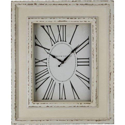 Decorative Wall Clock, Distressed White Wood, Fir Wood / Glass - Big Living