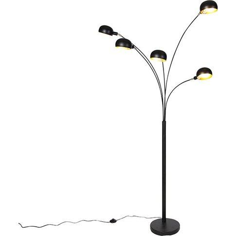 Design Floor Lamp Black 5-Light - Sixties - Qazqa