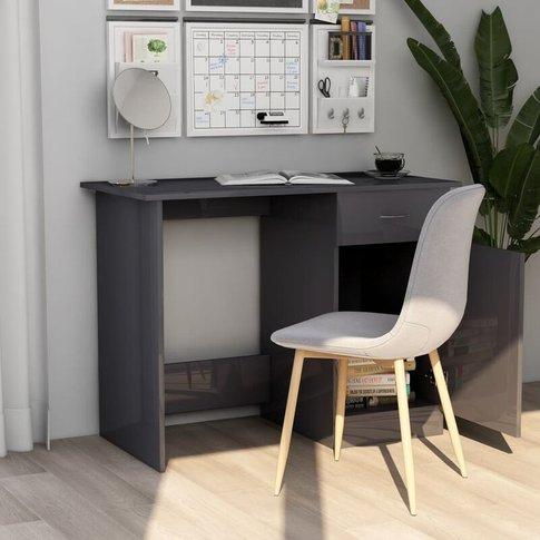 Youthup - Desk High Gloss Grey 100x50x76 Cm Chipboard