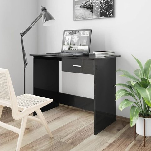 Desk 100x50x76 Cm Chipboard High Gloss Black - Vidaxl