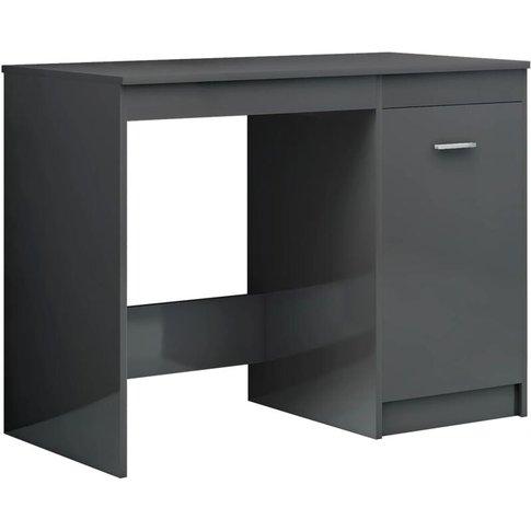 Desk 100x50x76 Cm Chipboard High Gloss Grey - Vidaxl