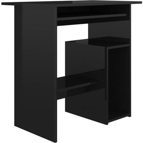 Desk 80x45x74 Cm Chipboard High Gloss Black - Vidaxl