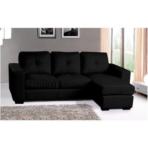 Diego Corner Group Sofa Black Leather - Designer Sof...