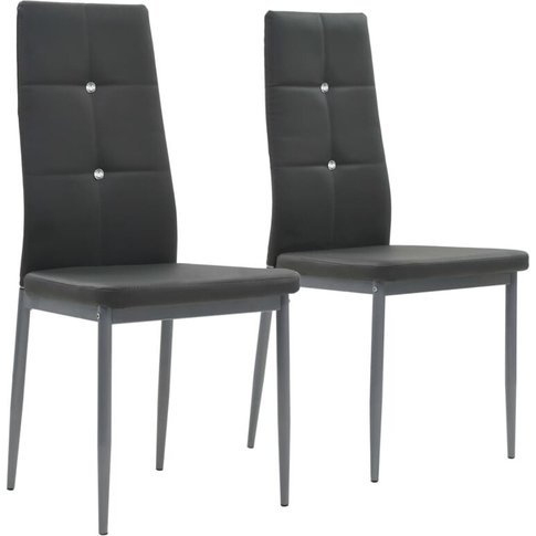 Dining Chairs 2 Pcs Grey Faux Leather - Vidaxl