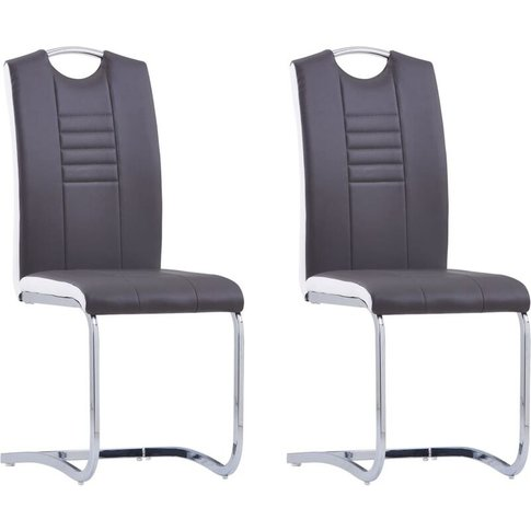 Cantilever Dining Chairs 2 Pcs Grey Faux Leather - V...